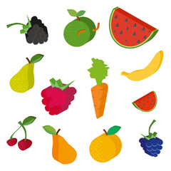 Vector collection of fruits and berries