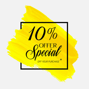 Sale  special offer 10% off sign over watercolor art brush stroke paint abstract background vector illustration. Perfect acrylic design for a shop and sale banners.