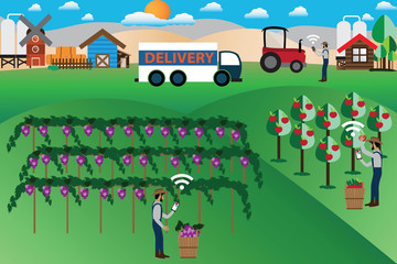 Smart Farm Concept,online marketing and delivery - Vector