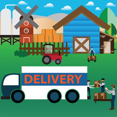 Smart Farm Concept,online purchase,packing and delivery - Vector