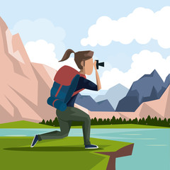 colorful landscape of hiking woman taking a picture in outdoors vector illustration