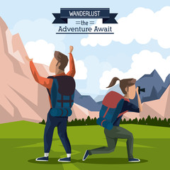 colorful poster of wanderlust the adventure await with climber couple in outdoor mountain landscape and her taking pictures vector illustration