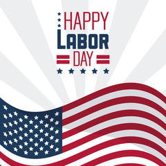 colorful poster of happy labor day with the american flag vector illustration