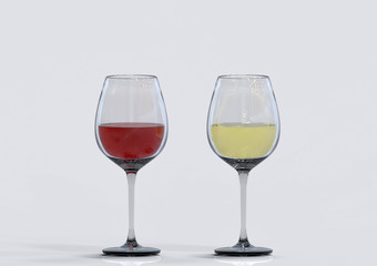 3d rendering. red and white wine in the glasses on gray background