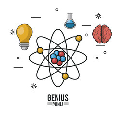 colorful poster of genius mind with atom in closeup and icons of light bulb and test tube and brain vector illustration