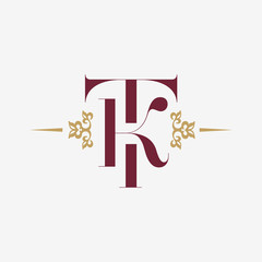 Logo monogram with letter T and letter K in vintage style with ornament. Monogram Initial TK vector company logotype design template.