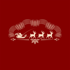 Christmas emblem with Santa Claus in a cart with deer
