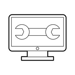 computer desktop with wrench vector illustration design