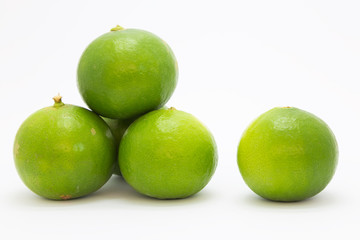 Limes on white background, fresh limes fruit isolated