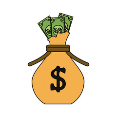 dollar bills coming out of bag money icon image vector illustration design