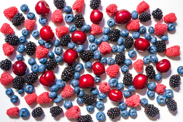 Summer fruit and berries. 6 types of raw organic farmer berries - raspberries blackberries blueberries strawberries red currants gooseberries.