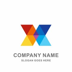 Monogram Letter X Geometric Infinity Triangle Arrow Technology Computer Business Company Stock Vector Logo Design Template