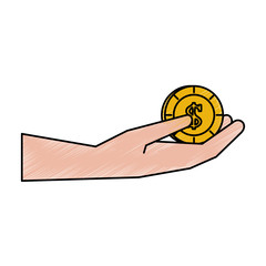 hand holding coin money icon image vector illustration design  hand colored style