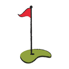 hole with flag golf icon image vector illustration design
