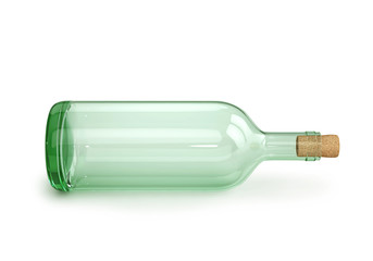 Glass empty wine bottle with cork