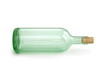 Glass empty wine bottle with cork
