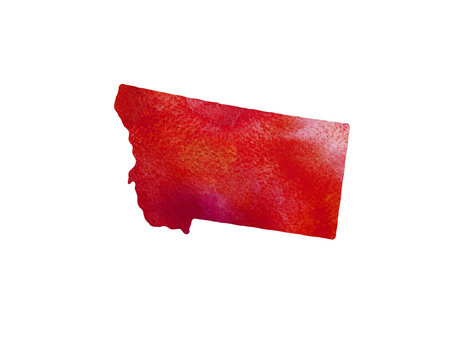 United States Of America. Watercolor texture. Montana