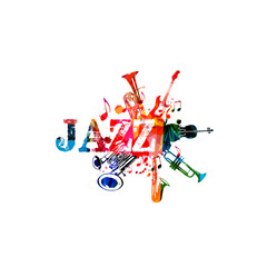 Music poster for jazz festival with music instruments. Colorful euphonium, double bell euphonium, saxophone, trumpet, violoncello and guitar with music notes isolated vector  illustration design