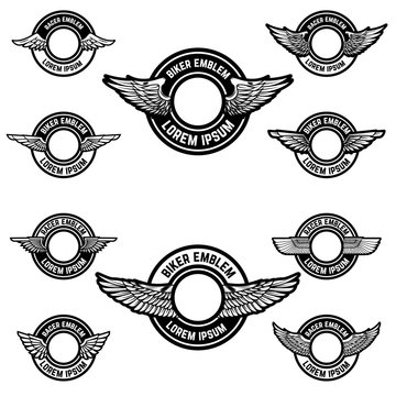 Set of blank emblems with wings. Label templates for biker club, racer community. Vector illustration