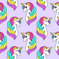 Cute childish seamless pattern with cartoon character of magic unicorn