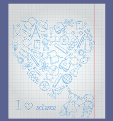 Illustration on  theme of school and science,  contour of icons on the topic of the exact Sciences in the shape of a heart on notebook sheet in a cage ,  boy, girl pupils, and  words I love science