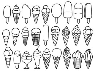 set of ice cream doodle