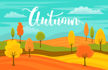 Poster Green coral autumn fall cartoon landscape background with handwritten text