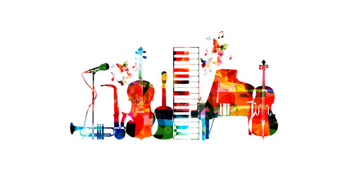 Music poster with music instruments. Colorful microphone, piano, saxophone, trumpet, violoncello, contrabass and guitar isolated vector illustration design