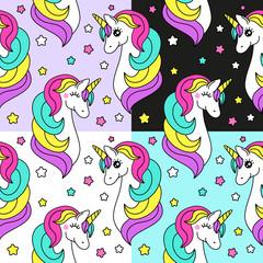 Cute set of childish seamless patterns with cartoon character of magic unicorn