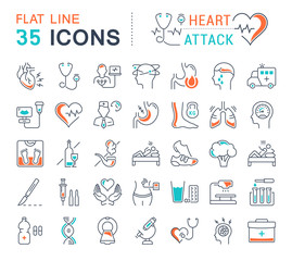 Set Vector Flat Line Icons Heart Attack