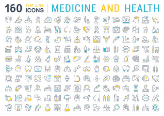 Set Vector Flat Line Icons Medecine and Health
