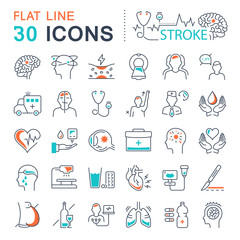 Set Vector Flat Line Icons of Stroke