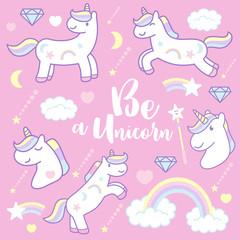 Cute cartoon unicorns, vector illustration