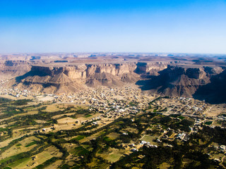 Aerial view to Shibam city and wadi Hadhramaut in Yemen