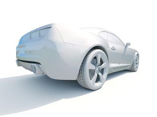 3d Car White Blank Template