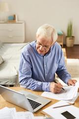 Senior Man Filling Application at Home