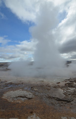 Geothermal Activity of Strokkur Geyser in Iceland