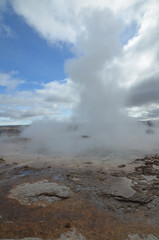 Beautiful Steaming Crater of Strokkur Iceland