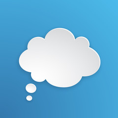 Vector illustration. Comic speech bubble for thoughts at cloud shape in paper version. Empty shape in flat style for chat dialogs. Isolated on blue background