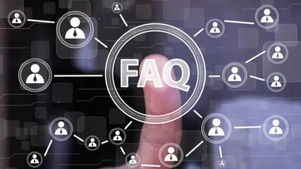 Wall Mural - Businessman presses button FAQ network online icon