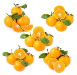 Fresh oranges isolated on white background.