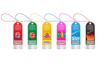 Price tag label with country barcode collection. Made in England. Vector EPS10