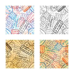 Set of International travel visa rubber stamps imprints seamless patterns on white