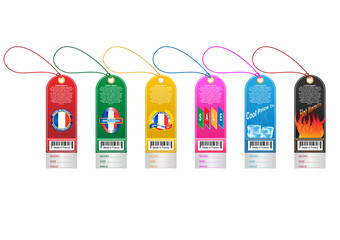 Price tag label with country barcode collection. Made in France. Vector EPS10