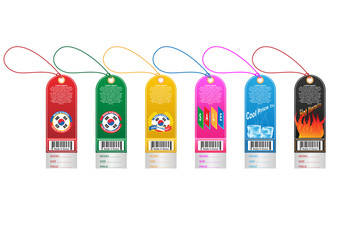 Price tag label with country barcode collection. Made in Korea. Vector EPS10