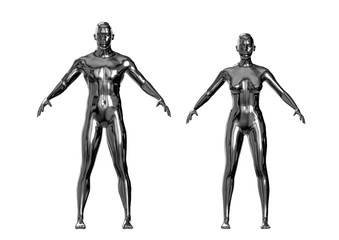 Silver metallic man and woman