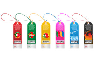Price tag label with country barcode collection. Made in Portugal. Vector EPS10