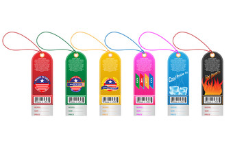 Price tag label with country barcode collection. Made in USA. Vector EPS10