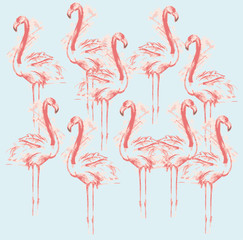 Canvas Prints Color sketch of pink flamingos