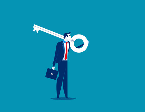 Businessman holding giant key on shoulder. Concept business vector illustration.